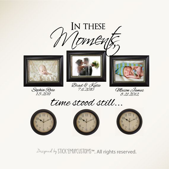 In These Moments Time Stood Still. Wall Decal Sticker Art Home Decor Family Names Dates Times