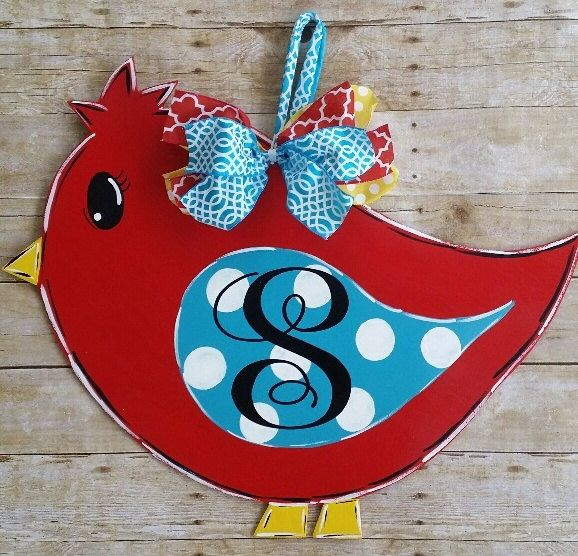 Bird door decoratio- Bird door hanger- Monogrammed door hanger- Spring Bird door decoration- Wood initial door hanger by Thepolkadotteddoor on Etsy https://www.etsy.com/listing/510100235/bird-door-decoratio-bird-door-hanger