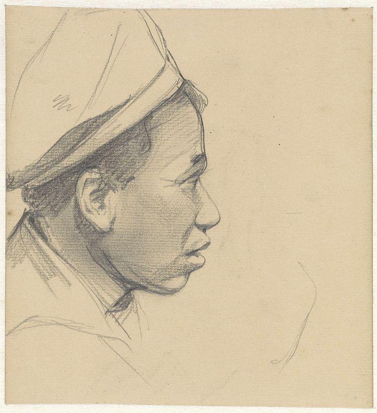 Jac van Looij | Hoofd van een zwarte man met pet, naar rechts, Jac van Looij, 1865 - 1930 |