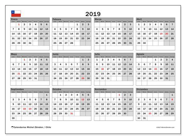 Calendario 2019 Chile Calendario Pinterest Calendar Calendar