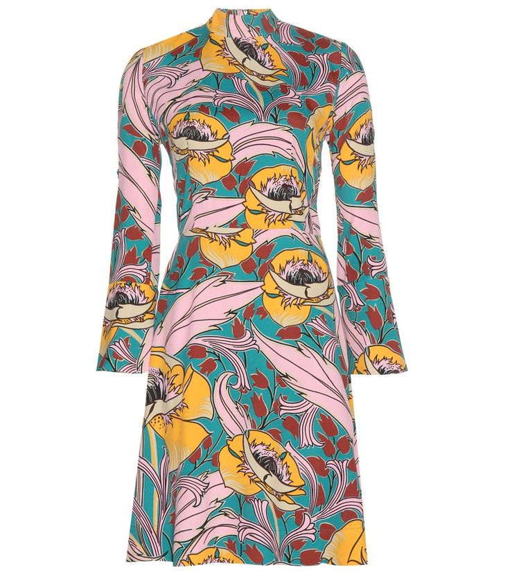 Marni - Floral printed crêpe dress - Marni's printed dress is cut in a turtleneck, figure-enhancing silhouette with an oversized floral motif. seen @ www.mytheresa.com