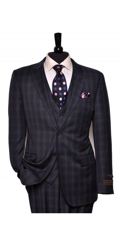 Tiglio Lux Men's Suit Blue Plaid - MADE IN ITALY | Men's ...