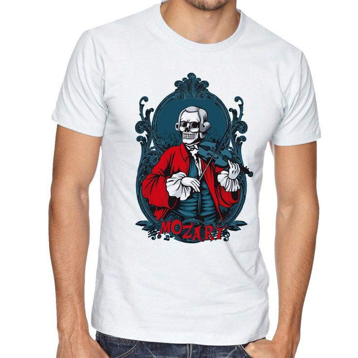 Play the Violin Of The Zombie T Shirt Men Harajuku Summer Mysterious Style Male Tops Short Sleeve Vogue Street Popular Tees #Affiliate