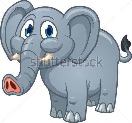 Cute cartoon olifant. Vectorillustratie met eenvoudig verlopen. Allemaal in een enkele laag.