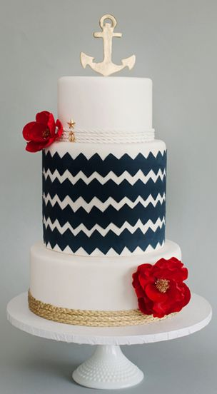A First Class Maui Wedding - Nautical Wedding Cake with Chevron Stripe and Anchor Topper Details