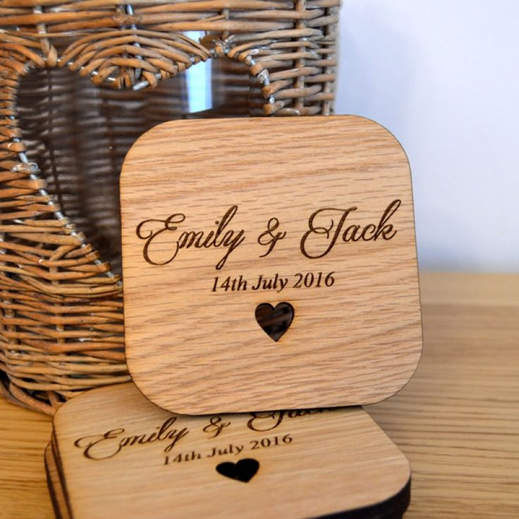Personalised Wedding Table Coasters – Unique Wooden Favour Placecards for Guests