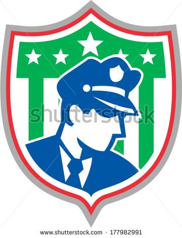 Illustration of a policeman security guard police officer set inside shield crest with stars done in retro style on isolated background. - stock vector #police #retro #illustration