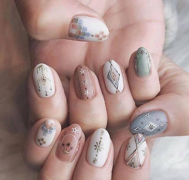 Nail design 2019; korea nail design   Hippie nails, Boho nails, Bohemian nails