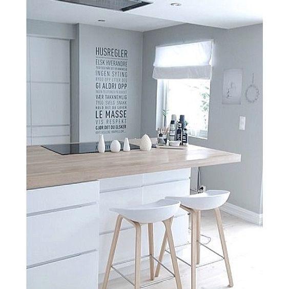 Białe szafki i drewniany blat w kuchni