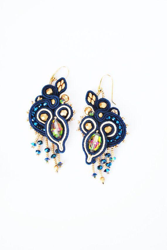 Soutache earrings, swarovski earrings, jeans earrings, beaded soutache, embroidery earrings, long earrings, soutache jewelry, OOAK jewelry