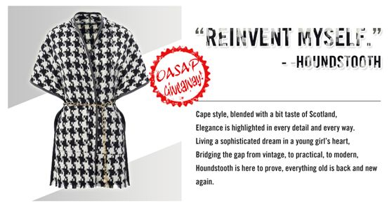 MyStyleSpot: GIVEAWAY! Win a Gorgeous Cape Coat- OPEN WORLDWIDE  Ends nov 23. 2014 #contest #win #sweepstakes #giveaway #mystylespot #oasap #cape #coat #vegan #leather #houndstooth #fashion #shopping #women #teens #youth #girls #jakcket #outerwear