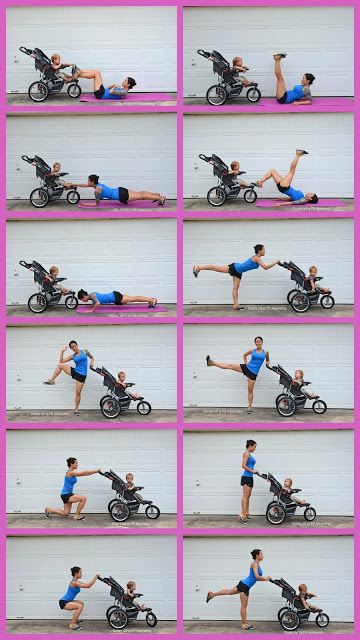 Easy workouts mommy can do with baby! All you need is a stroller.