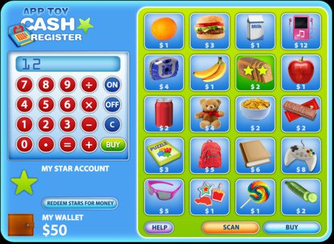 App Toy- Cash Register ($0.00) Test your budgeting skills and play along with your Cash Register game. To earn a high score in the game, you will need to buy every item that appears on screen! Either scan your items QCR Codes (App gadget sold separately) or choose from the on screen menu. Use the cash register to calculate the amounts you need to win the game. Each item has a different star value which you earn along with your purchase. Accumulate enough Stars to redeem for more cash.