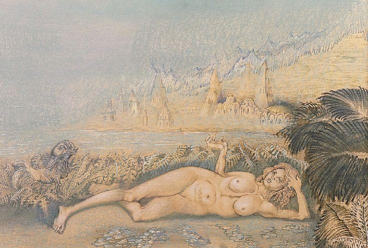 Jan LEBENSTEIN (1930-1999)  Akt leżący, 1988 akwarela, gwasz, pastel, tusz, piórko, papier;  67 x 97 cm (w świetle oprawy); sygn. l. d.: Lebenstein 88