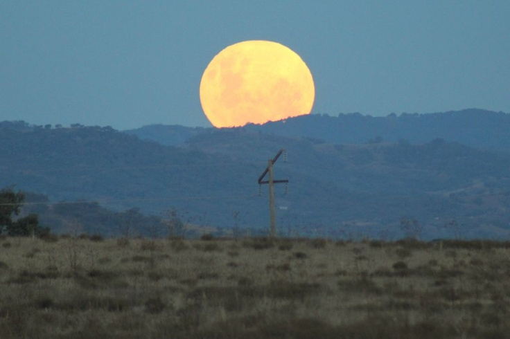 Super Moon rises over Tamworth, NSW.