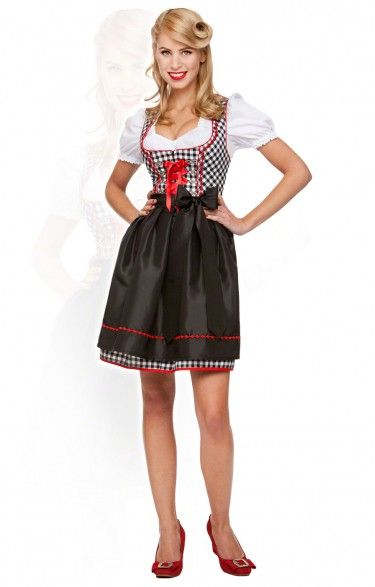 German mini dirndl 2pcs. Fanny black 50 cm oktoberfest dirndl
