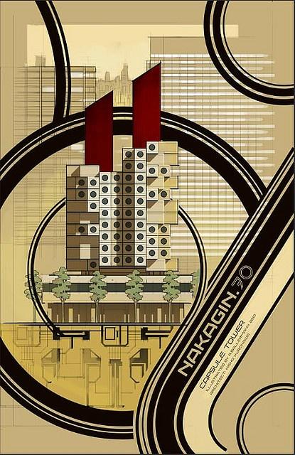 :: Nakagin Capsule Tower by Kisho Kurokawa, located in Shimbashi, Tokyo, Japan. Poster for, kisho kurokawa 1972