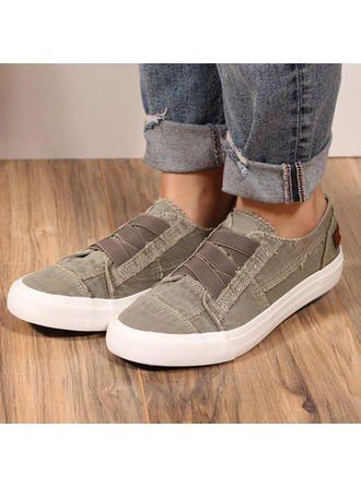 VERYVOGA Femmes Toile Talon plat Chaussures plates avec Autres chaussures