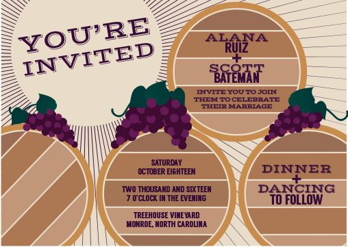 Wine Barrels and Grapes Wedding Invitation- perfect for a winery barrel room reception or vineyard wedding