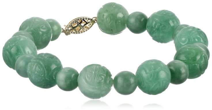 14k Yellow Gold Carved Green Jade Bead Strand Bracelet: