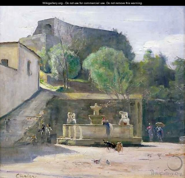 Carl Vilhelm Holsøe - At the Fountain Italy