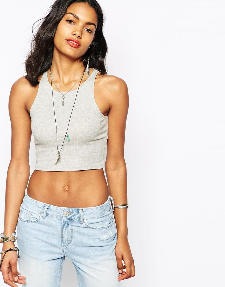 Image 1 ofRiver Island Racer Back Cropped Tank Top