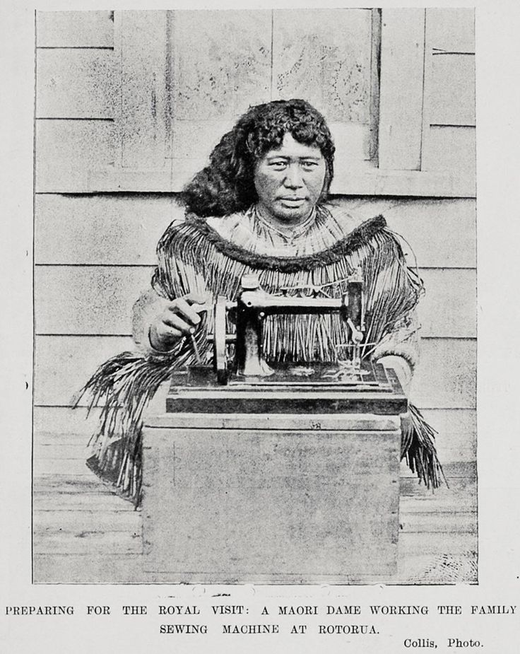 Preparing for the Royal Visit: A Maori Dame working the Family Sewing Machine at Rotorua.  14 June, 1901. Sir George Grey Special Collections, Auckland Libraries, AWNS-19010614-11-2