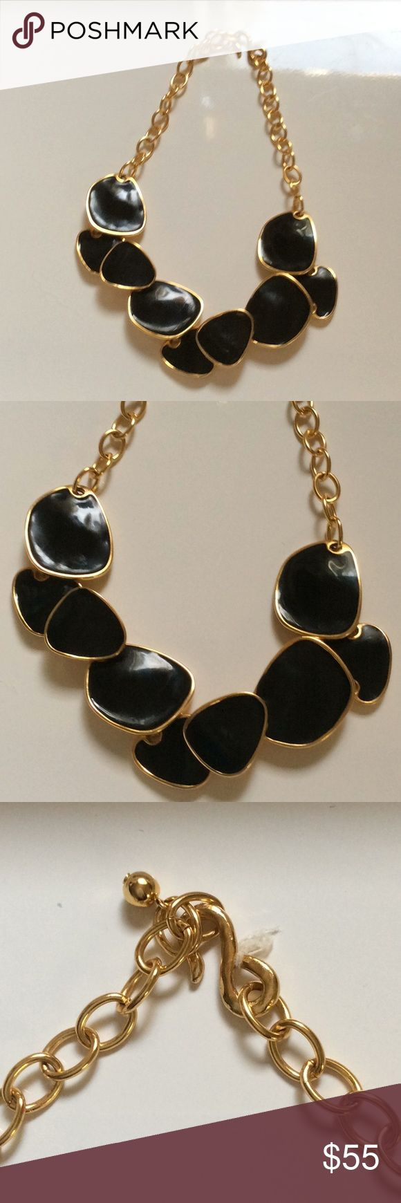 Kenneth Jay Lane black enamel necklace In excellent condition, only worn once! Stunning and classic piece! 22K plated gold and black enamel. Adjustable length. Well-made, has a nice solid weight to it. Bought from Bloomingdales department store. Made in the USA. And KJL stamp. Kenneth Jay Lane Jewelry Necklaces