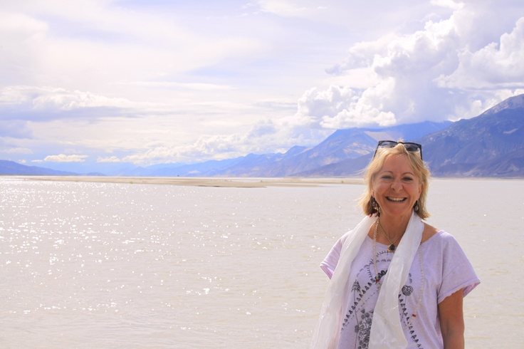 On the shores of the lake as we came into Tibet
