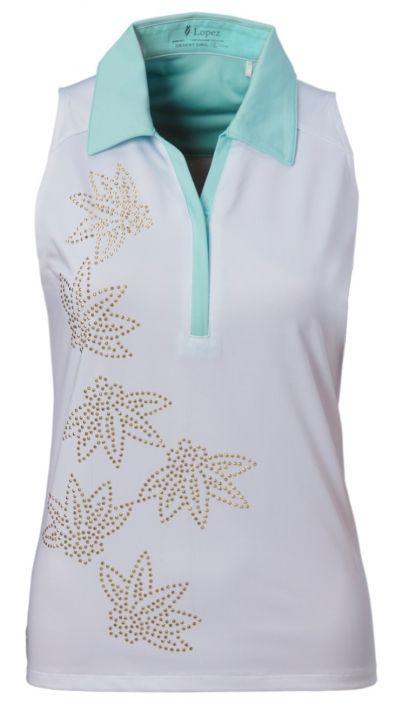 White mint nancy lopez ladies plus size sleeveless golf for Plus size sleeveless golf shirts