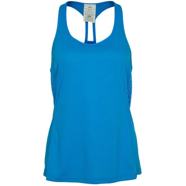 Under Armour FLY Top ($30) ❤ liked on Polyvore featuring tops, shirts, tank tops, blue, blusa and under armour
