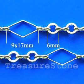 Chain, brass, rhodium-plated, 9x17/6mm. TreasureStone Beads Edmonton