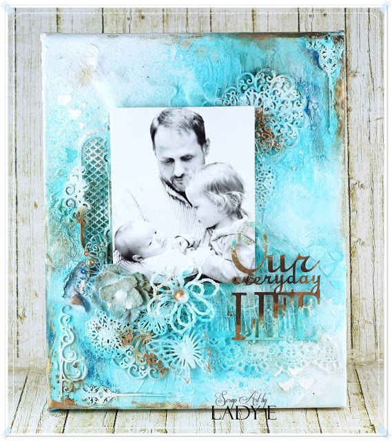 Scrapiniec inspirations on blogspot: Mediowy canvas / Mixed media canvas