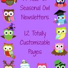 By request, *seasonal* owl newsletter templates. Totally customizable. $