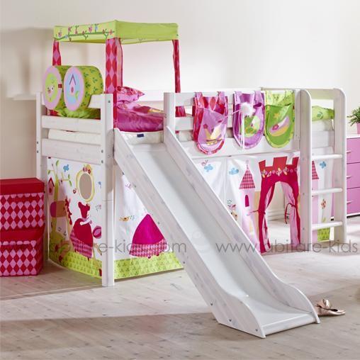 CLASSIC by Flexa Lit mi-hauteur 90x200 cm blanchi avec toboggan, échelle inclinée et rideaux Princesse (3)