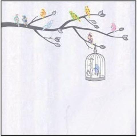 Gray Tree Bird Cage Colorful Birds Wall Sticker Decal Vinyl Art Home Decor
