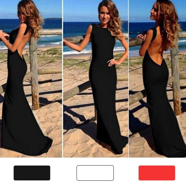 Sexy Women Backless Prom Gown Bodycon Cocktail Evening Party Maxi Long Dress
