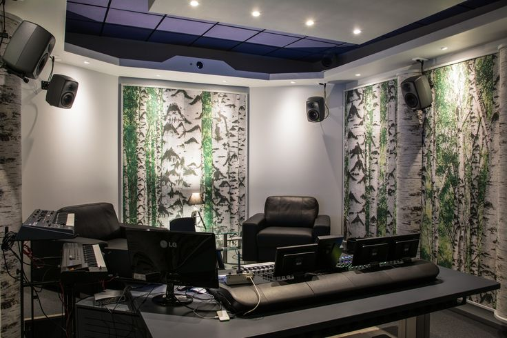 Recording studio of Verne in Helsinki. Studio acoustics are not made of birch but peat fibre board with printed picture.
