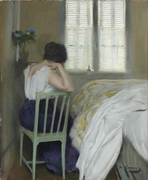 'The Sad Hours, 1900, by Ramon Casa i Carbo' SAD COLOURS - the colours here are muted and dark and reflect the sad subject matter and name of this artwork.