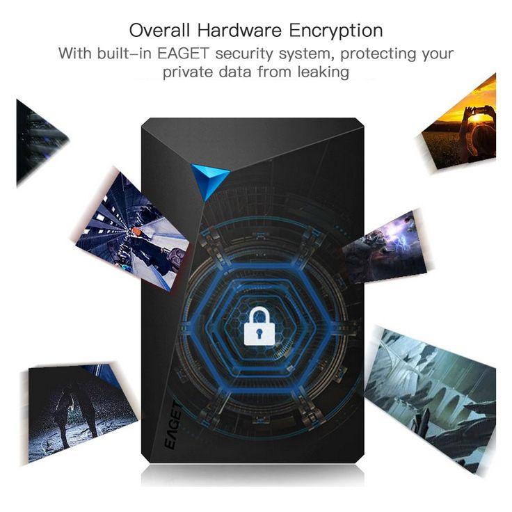 EAGET G20 2.5 Inch 1TB External Hard Drive Super Speed HDD USB 3.0 Encryption Shockproof Hard Disk for Laptop PC Desktop Sales Online Array - Tomtop