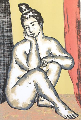 Svein Bolling <em>Sittende</em><br />litografi, 55x37 cm