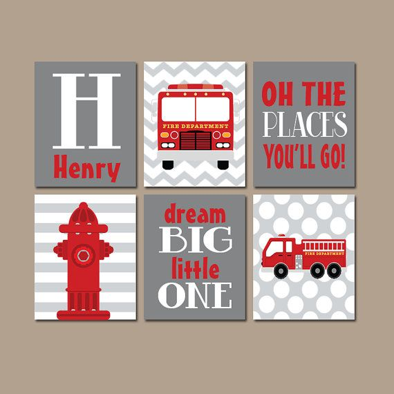 FIRE TRUCK Wall Art Boy Nursery Firetruck CANVAS Gray by TRMdesign