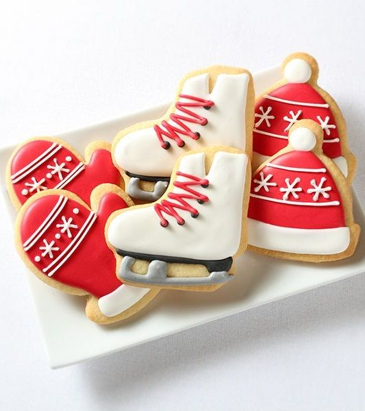 Mittens, Ice Skate, and Winter Hat Cookies