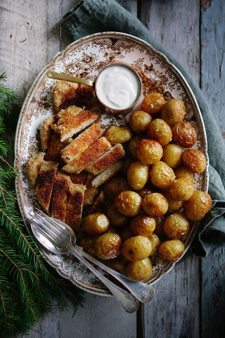 Fried Soy Fillets with Salt Roasted Baby Potatoes & Honey Mustard Dip: