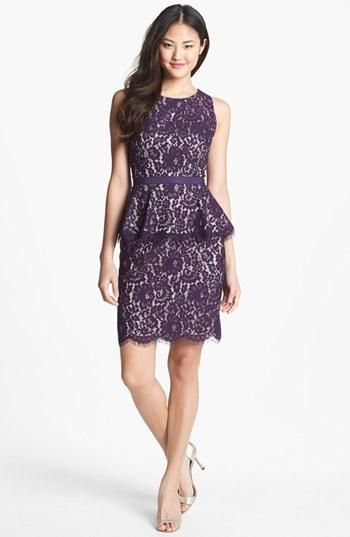 Lace  peplum in pretty eggplant