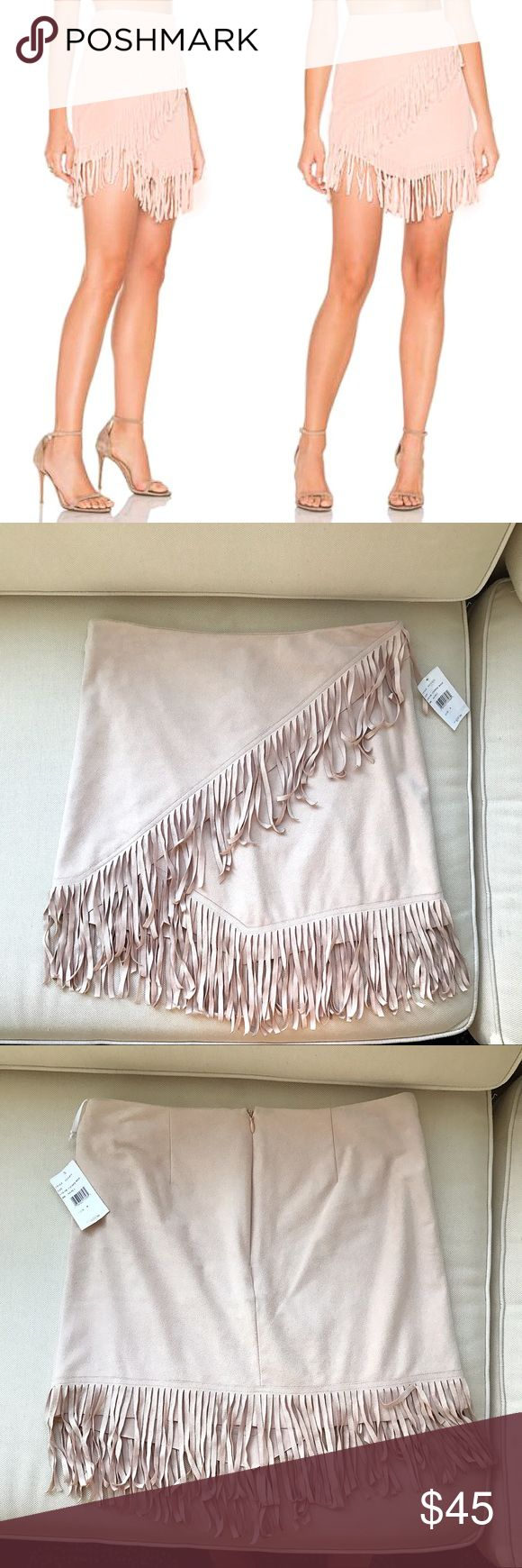 Fringe, Suade Cream Pink Mini Skirt 💃🏼 Brand new with tags. Measures approximately 15 inches in the back, 16 inches in the front (both measures are where the material ends and not where are the fringe ends), 15 1/2 inches waste laying flat. The material stretches a very well and it's super soft so there is lots of extra room all around. The color is like a cream/camel; best color of the skirt shows photo with the price tag. 1. State Skirts Mini