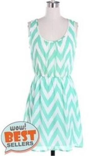 Women Large Dress * NEW Mint Chevron Patterned Spring / Summer ~