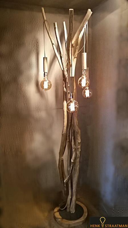 Houten lampen vloerlamp vintage 4 you | Houten Lampen