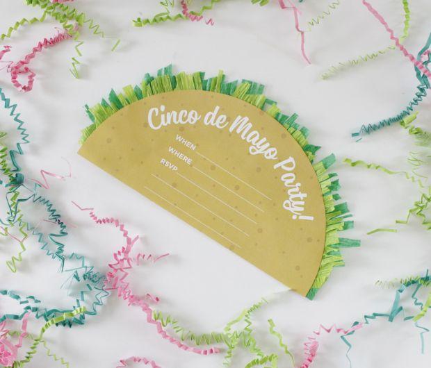 Invite friends over for a Cinco de Mayo party with a taco-shape invite!