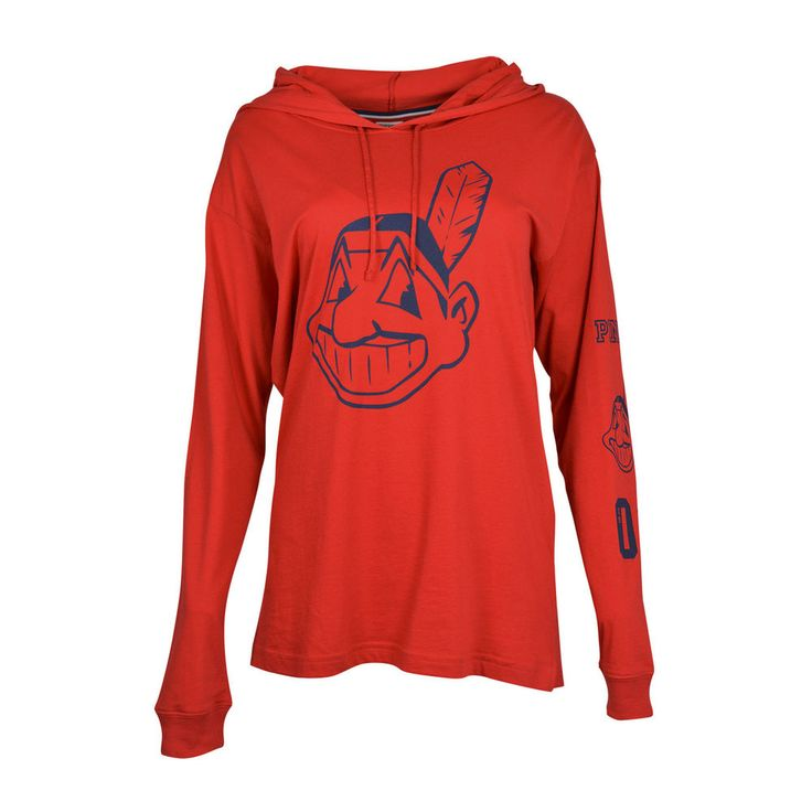 Women's Cleveland Indians PINK by Victoria's Secret Red Hooded Long Sleeve Campus T-Shirt